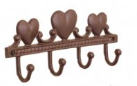 Gorgeous Quality Rustic Cast Iron 'Love Hearts' Coat Rack With 4 Hooks
